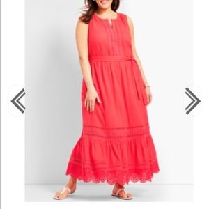 a0b16fe28c9 Pintucked Tiered-Hem Gauze Maxi Dress